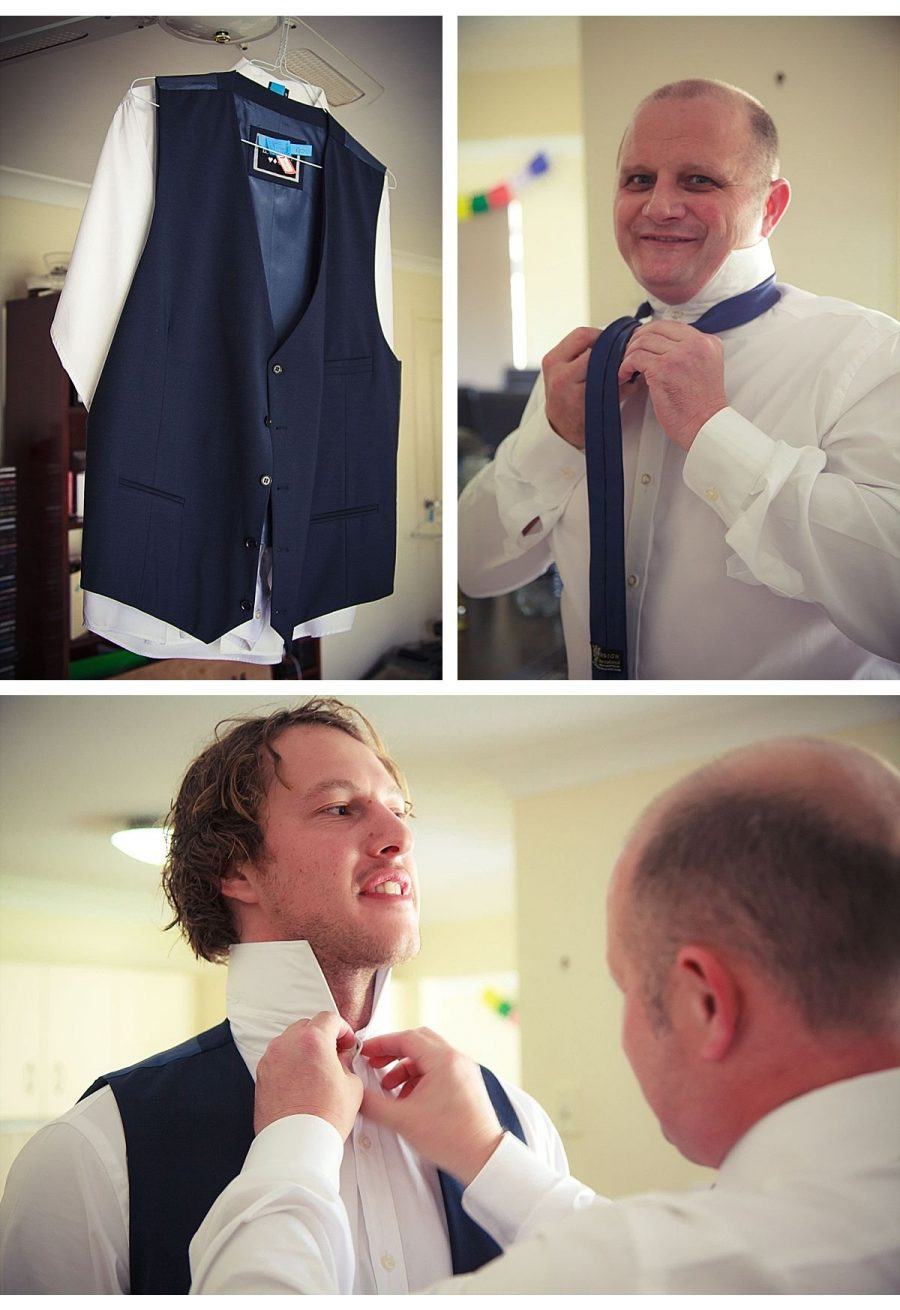 image collage of suit on a hanger, Groomsmen helping with tying a tie