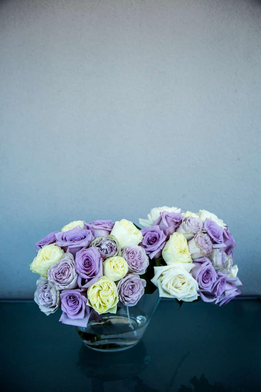 mauve yellow white wedding bouquet vase